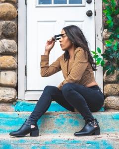 woman on doorstep